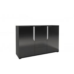 LANCO – Komoda 135 x 90 czarny połysk + biały