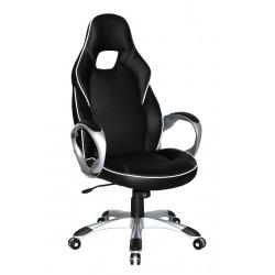 DELUXE - fotel obrotowy gabinetowy czarno-biały