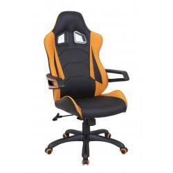 MUSTANG - fotel obrotowy gabinetowy czarno-pomarańczowy