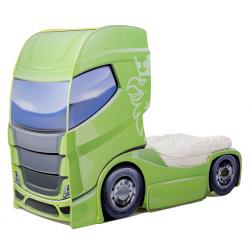 Truck 1 Green  - Łóżko dziecięce z materacem